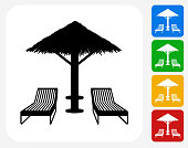 Beach Chairs Icon. This 100% royalty free vector illustration features the main icon pictured in black inside a white square. The alternative color options in blue, green, yellow and red are on the right of the icon and are arranged in a vertical column.