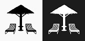Beach Chairs Icon on Black and White Vector Backgrounds. This vector illustration includes two variations of the icon one in black on a light background on the left and another version in white on a dark background positioned on the right. The vector icon is simple yet elegant and can be used in a variety of ways including website or mobile application icon. This royalty free image is 100% vector based and all design elements can be scaled to any size.