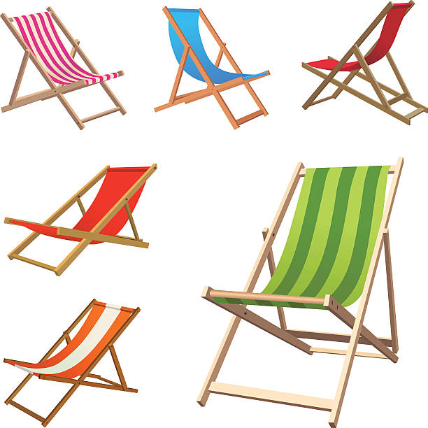 Beach Chairs Vector Set of Different Style and Position Beach Chairs.. outdoor chair stock illustrations