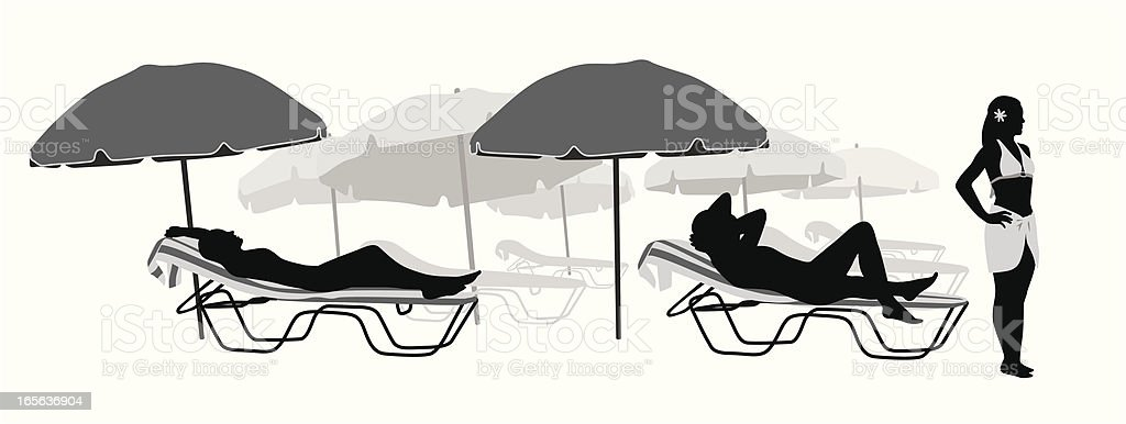 Beach Chairs Vector Silhouette Stock Illustration - Download ...