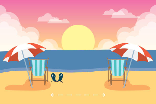 beach chairs with social distancing scene ,summer time vacations vector art illustration