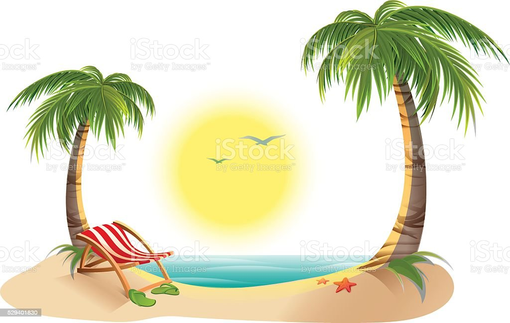 Beach chaise longue under palm tree. Summer vacation in tropics vector art illustration