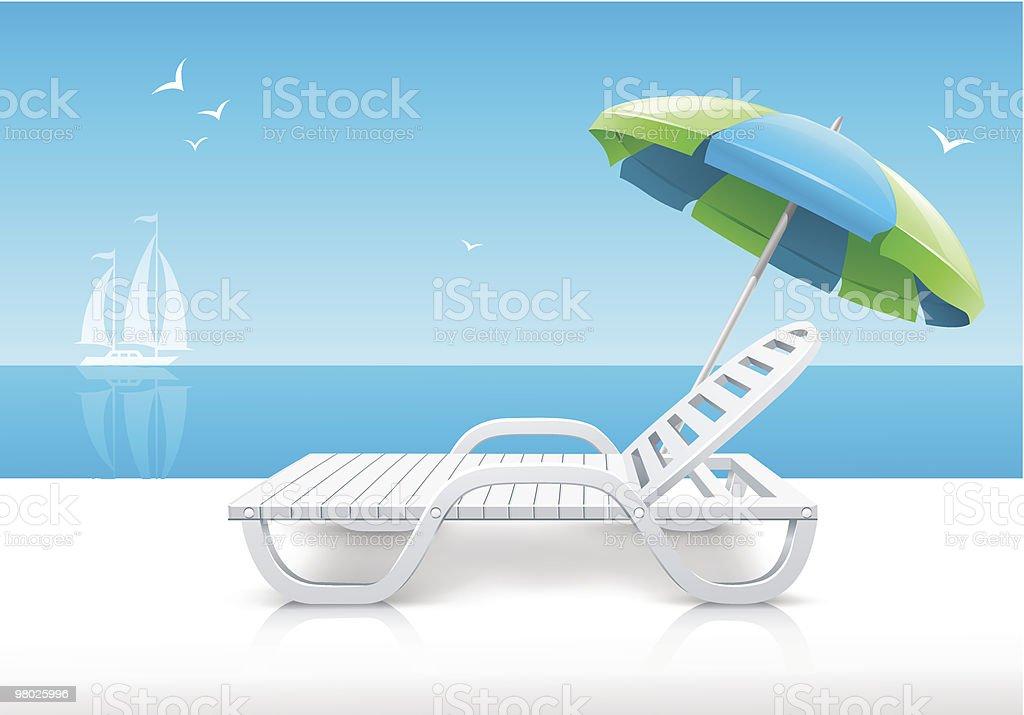 beach chaise longue with umbrella on sea coast royalty-free beach chaise longue with umbrella on sea coast stock vector art & more images of beach