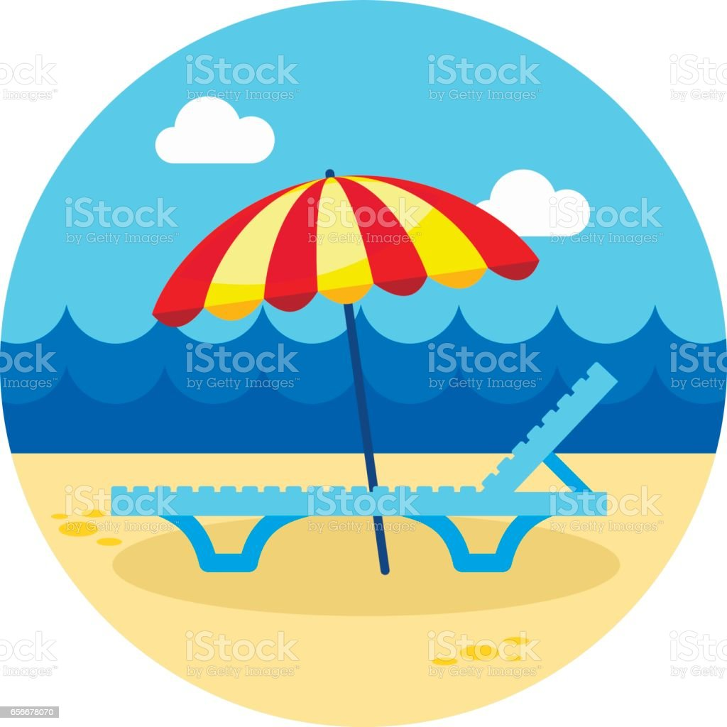 Beach chaise lounge with umbrella icon. Vacation vector art illustration