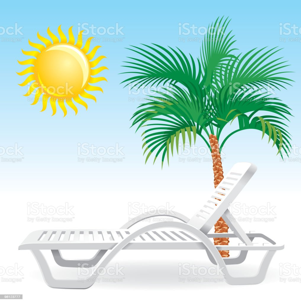 beach chaise-longue with tropical palm tree royalty-free beach chaiselongue with tropical palm tree stock vector art & more images of beach