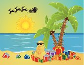 Palm trees for a Christmas tree, a sand man rather than a snow man, and lots of gifts and a Santa.