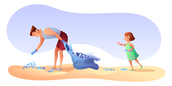 Beach cleaning flat vector illustration