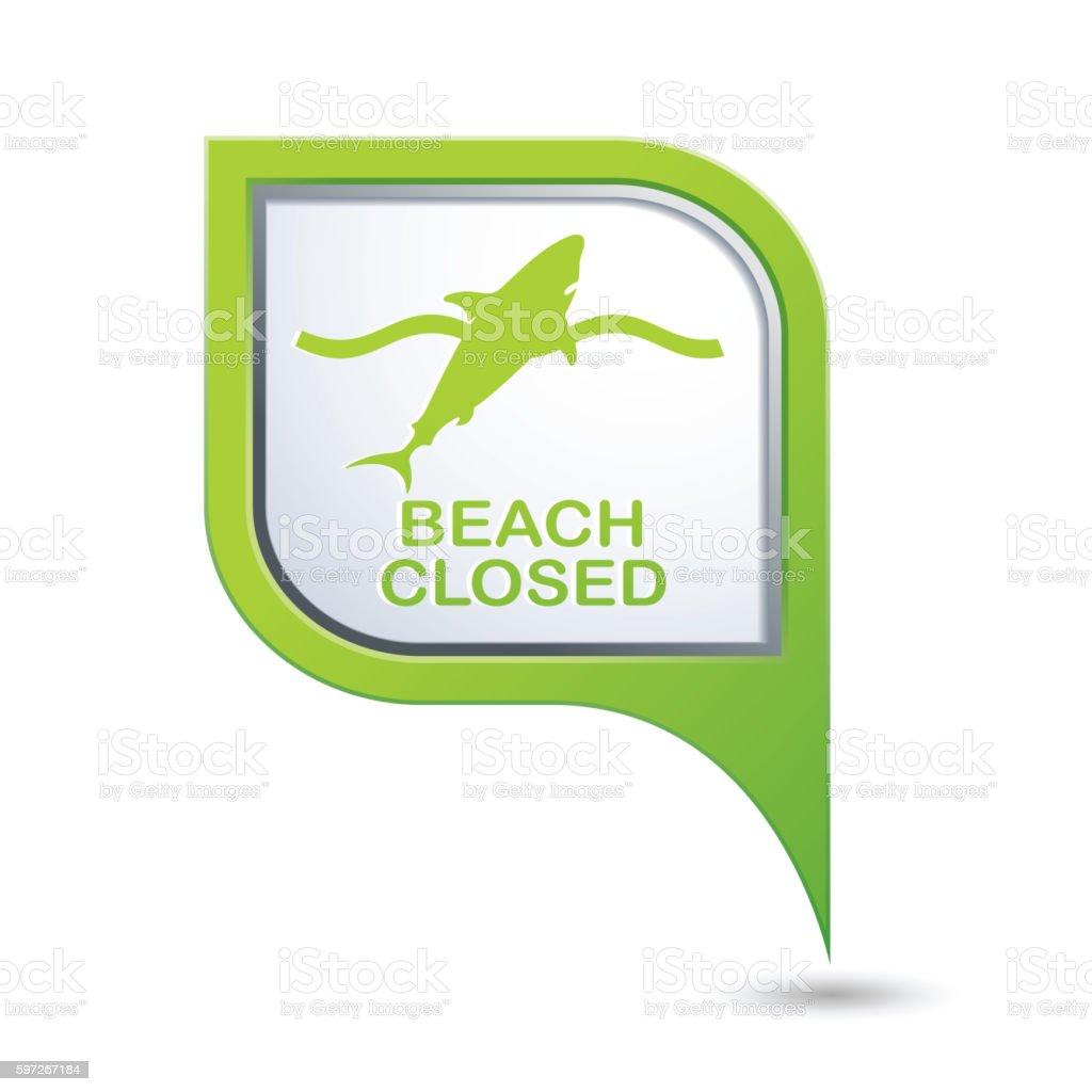 Beach Closed, shark sighting sign on map pointer Lizenzfreies beach closed shark sighting sign on map pointer stock vektor art und mehr bilder von geschlossen - allgemeine beschaffenheit