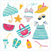 beach clothes and accessories