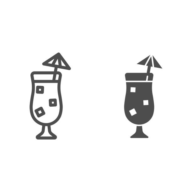 Beach cocktail line and glyph icon. Summer drink vector illustration isolated on white. Cocktail with umbrella outline style design, designed for web and app. Eps 10. Beach cocktail line and glyph icon. Summer drink vector illustration isolated on white. Cocktail with umbrella outline style design, designed for web and app. Eps 10 alcohol drink silhouettes stock illustrations