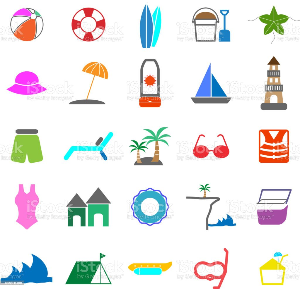 Beach color icons on white background vector art illustration