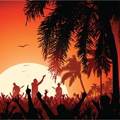 Vector illustration of a rock band, cheering crowd, and palm trees at sunset. People and trees are in silhouette.