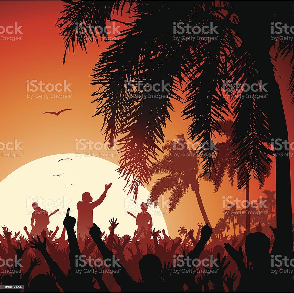 Beach Concert at Sunset vector art illustration