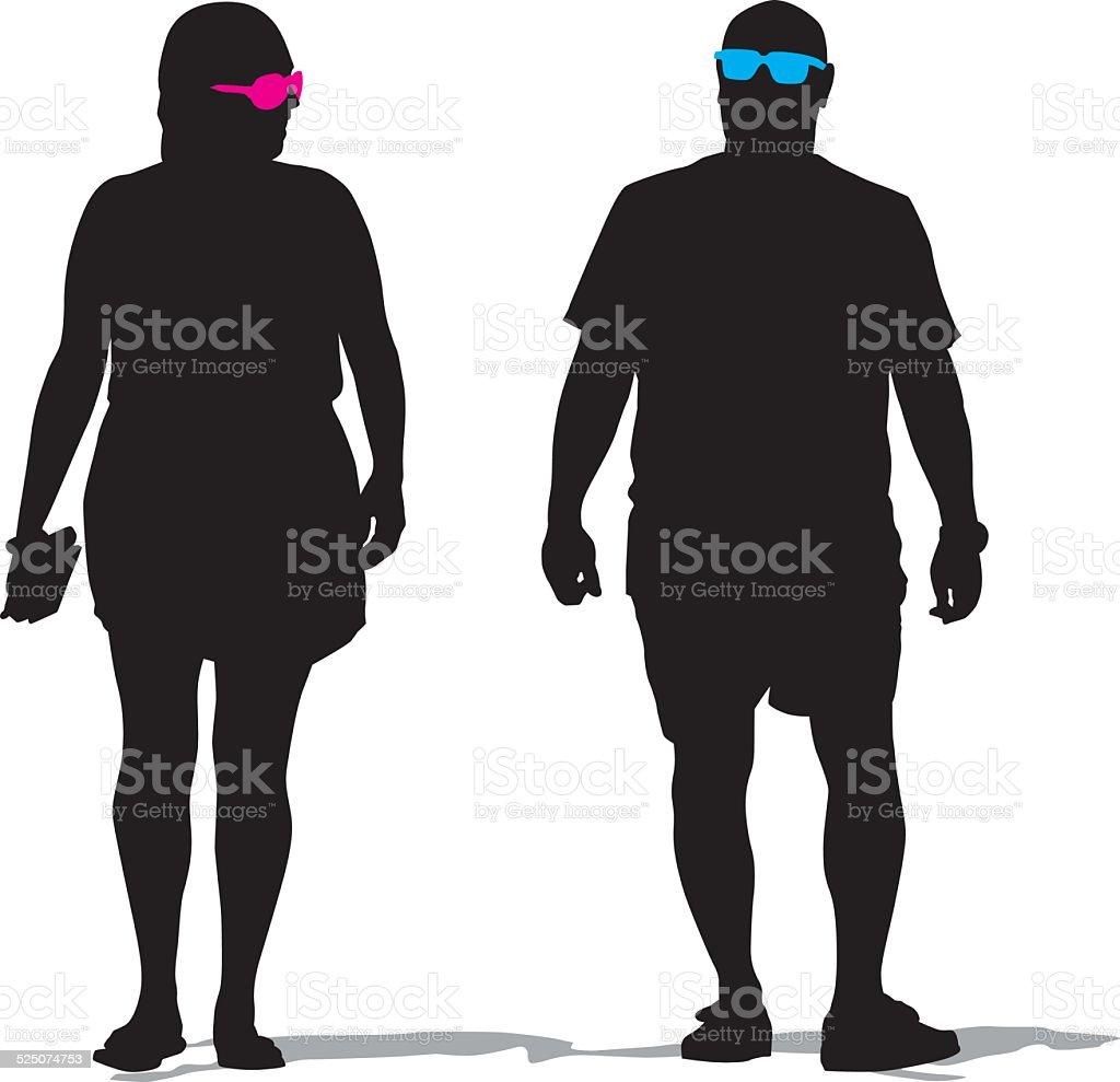 Beach Couple Walking Stock Illustration
