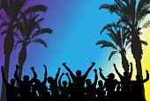 Beach disco party, silhouettes of dancing people and palm trees. Vector illustration.