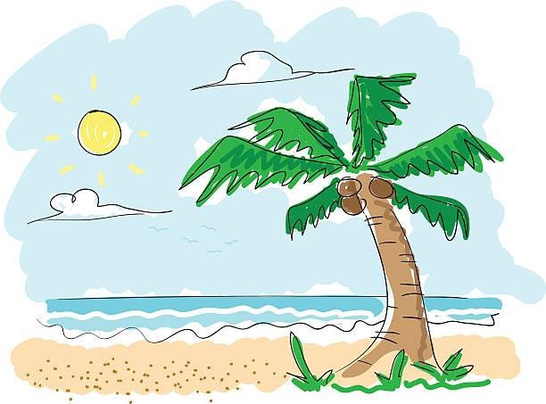 ビーチの落書き - 漫画の風景点のイラスト素材/クリップアート素材/マンガ素材/アイコン素材