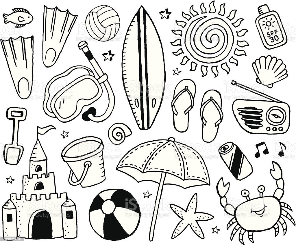 Beach Doodles vector art illustration