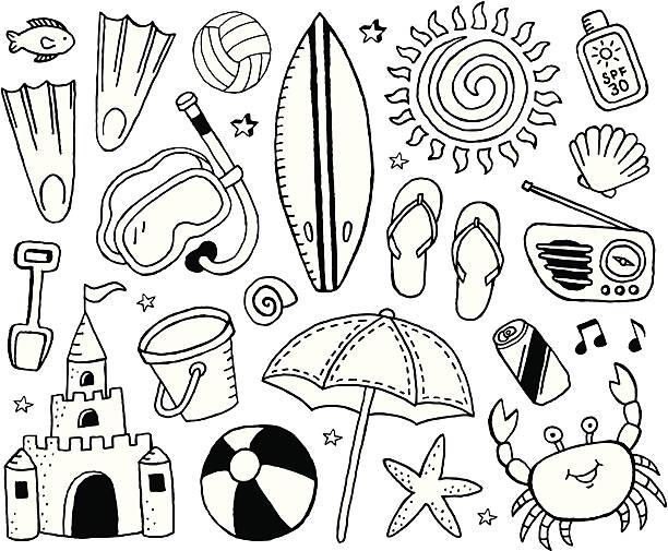 illustrations, cliparts, dessins animés et icônes de plage et crayonnages - chateau de sable