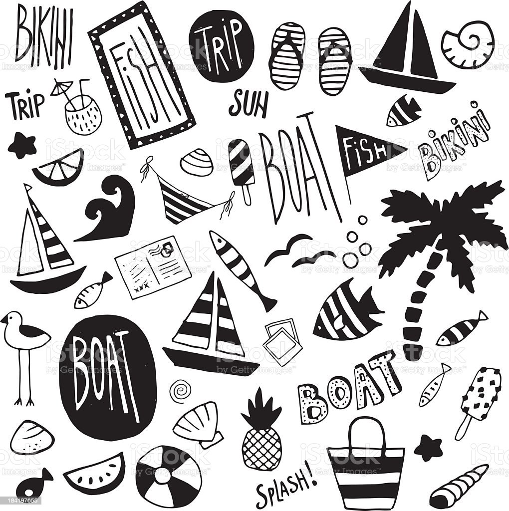 Beach doodles royalty-free stock vector art