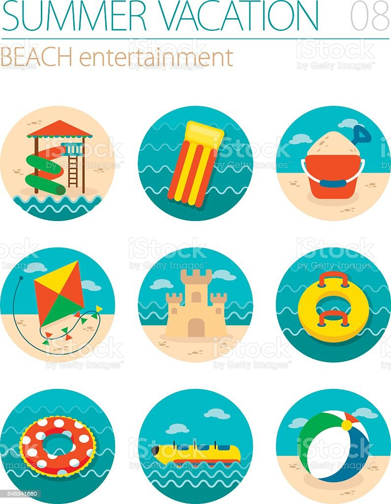 Beach entertainment icon set. Summer. Vacation vector art illustration