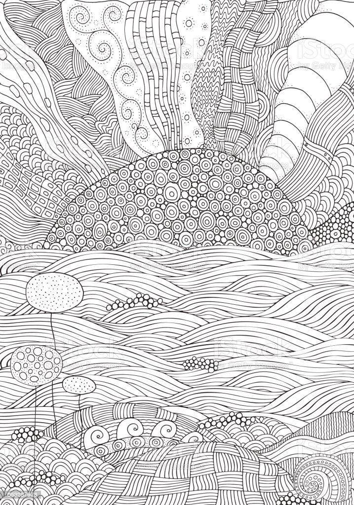 Playa Frente Al Mar Libro Para Colorear - Arte vectorial de stock y ...