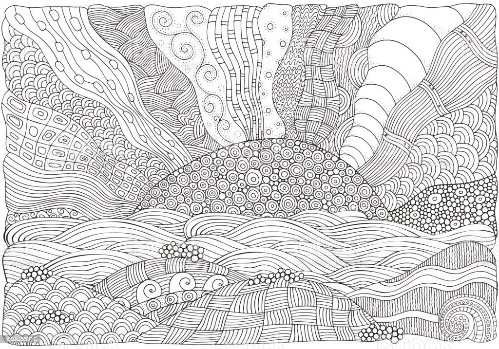 Beach, facing out to sea. Coloring book vector art illustration