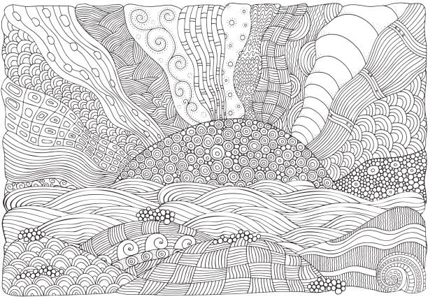 Beach, facing out to sea. Coloring book Beach, facing out to sea. Coloring book page for adult. Art. Doodle, hand-drawn, vector illustration. Black and white colors só adultos stock illustrations