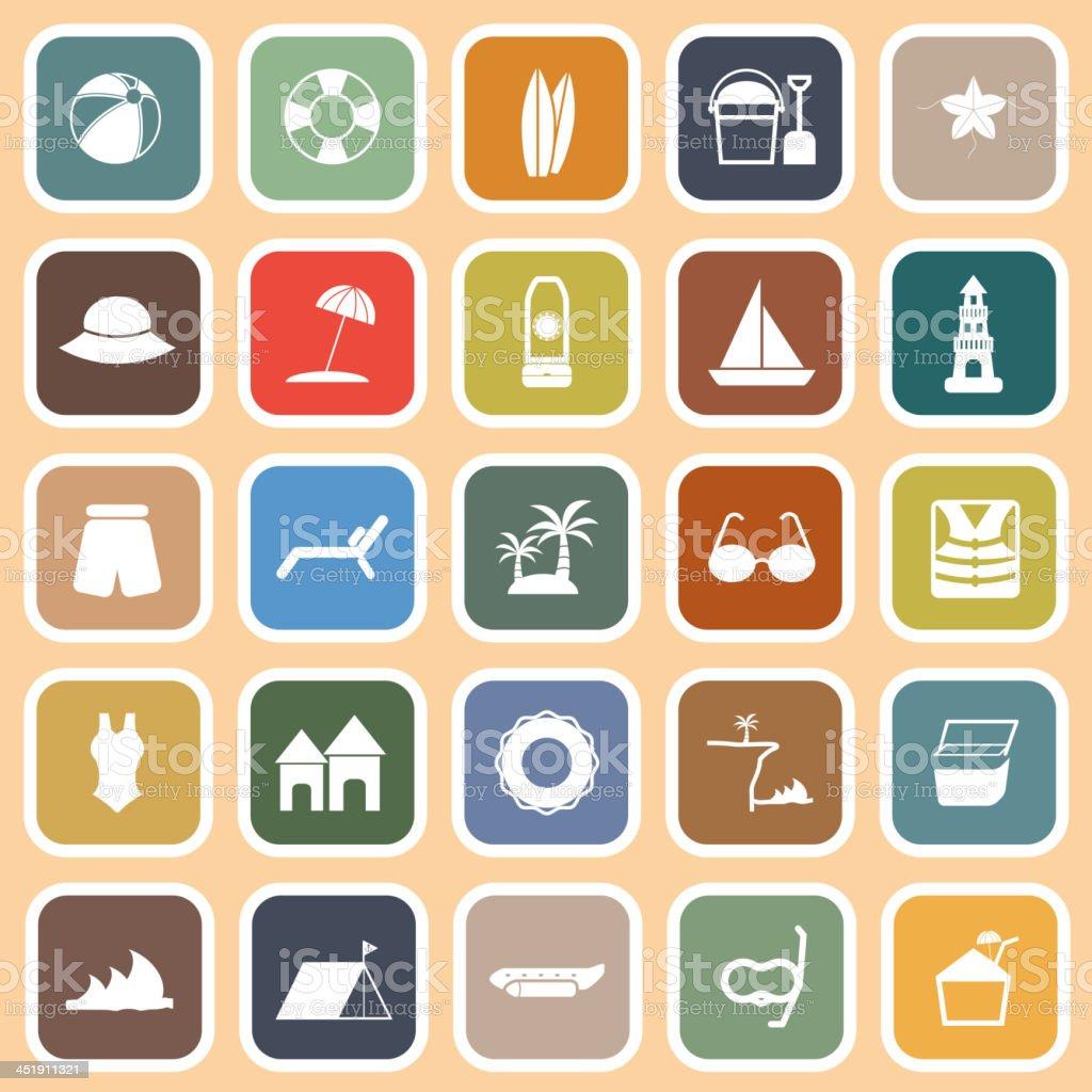 Beach flat icons on orange background vector art illustration