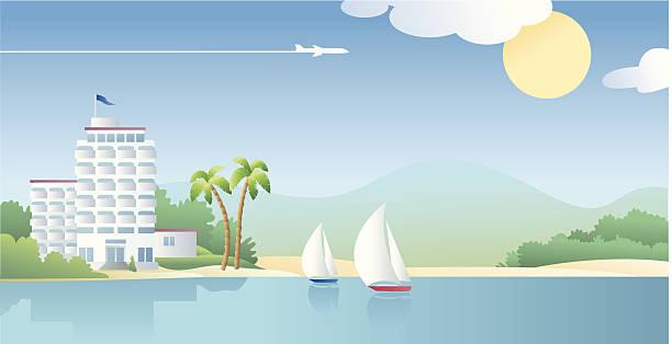 hotel am strand mit segelboote an einem sonnigen tag - buchten stock-grafiken, -clipart, -cartoons und -symbole