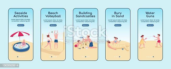 istock Beach games onboarding mobile app screen flat vector template. Building sandcastle activity. Walkthrough website steps with characters. UX, UI, GUI smartphone cartoon interface, case prints set 1303503514