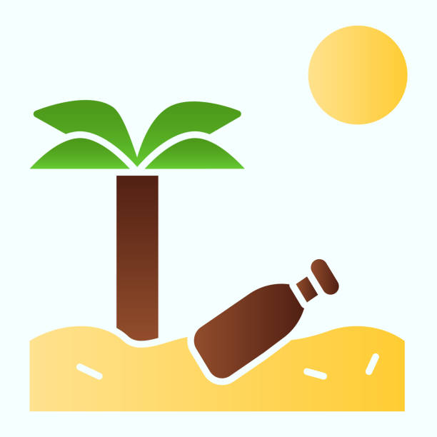 Beach garbage solid icon. Plastic bottle on tropic sand beach with palm illustration isolated on white. Island flat beach palm and sea glyph style design, designed for web and app. Eps 10. Beach garbage solid icon. Plastic bottle on tropic sand beach with palm illustration isolated on white. Island flat beach palm and sea glyph style design, designed for web and app. Eps 10 plastic pollution stock illustrations