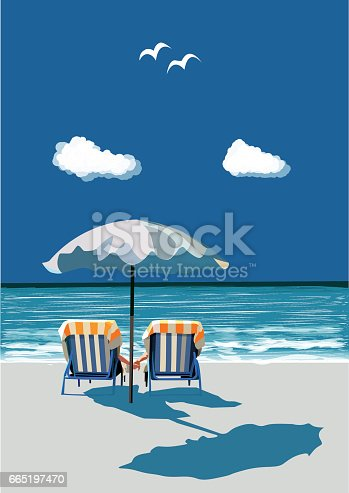 istock Beach, happy couple sitting on deck chairs, under umbrealla, on vacation, vector 665197470