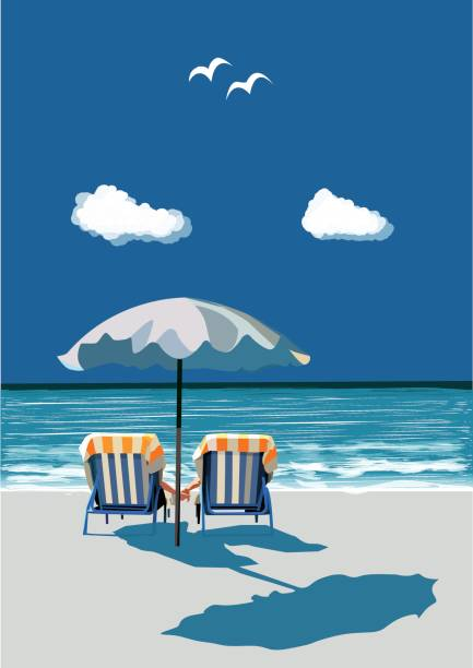 Beach, happy couple sitting on deck chairs, under umbrealla, on vacation, vector Couple sitting on deck chairs on the beach, holding hands, under umbrella, on vacation, vector illustration outdoor chair stock illustrations