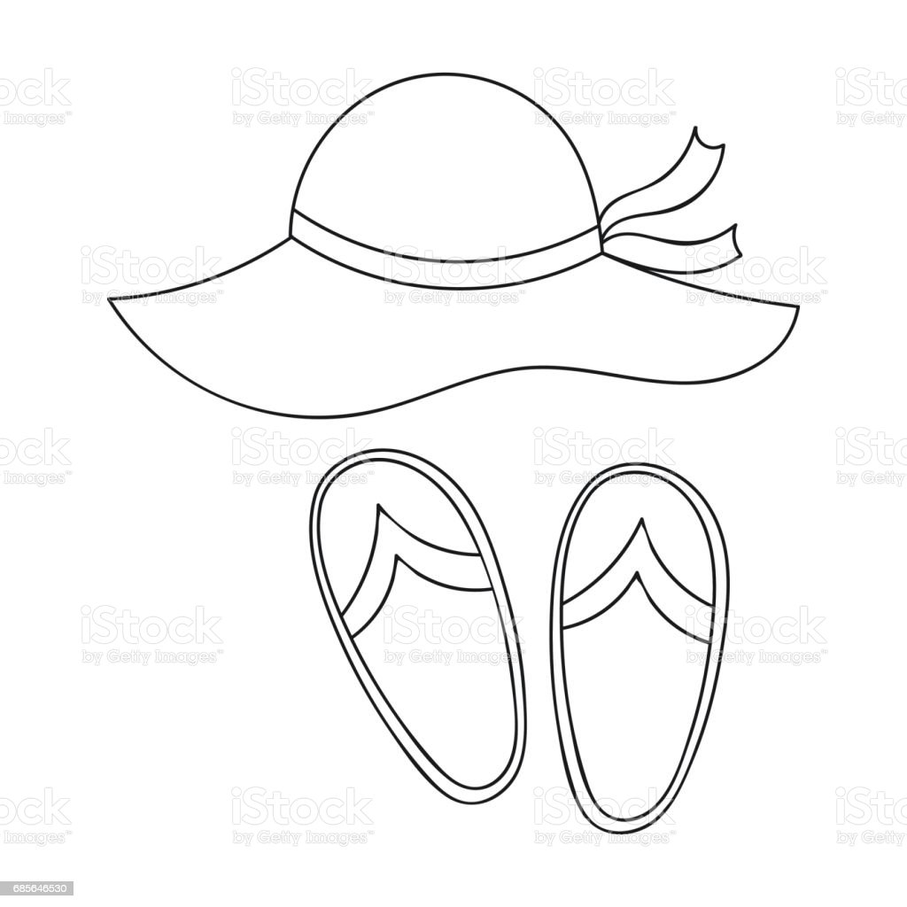 Beach hat with flip-flops icon in outline style isolated on white background. Family holiday symbol stock vector illustration. beach hat with flipflops icon in outline style isolated on white background family holiday symbol stock vector illustration - arte vetorial de stock e mais imagens de amarelo royalty-free