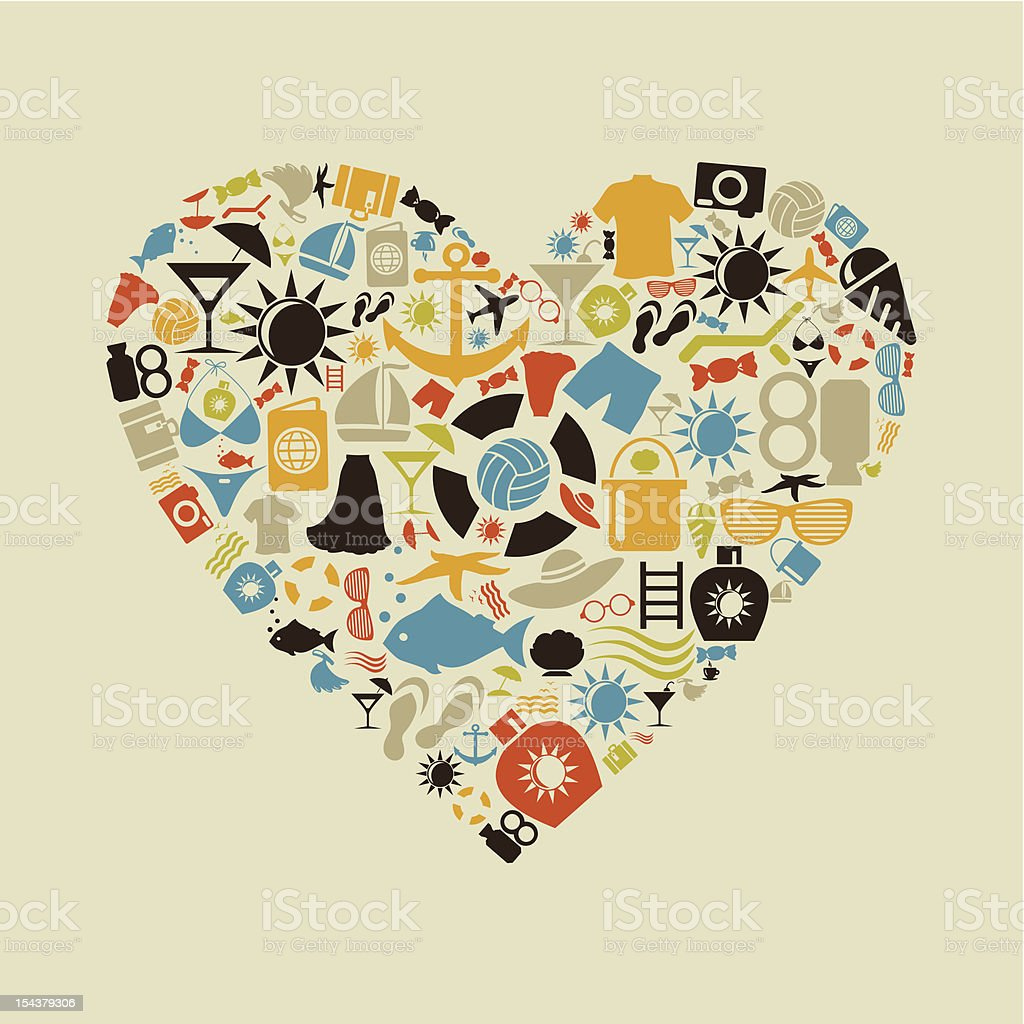 Beach heart royalty-free stock vector art