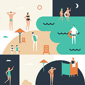 Beach holiday - flat design style conceptual illustration. Cute cartoon characters in swimsuits sunbathing, swimming, children with buckets. Summer vacation concept