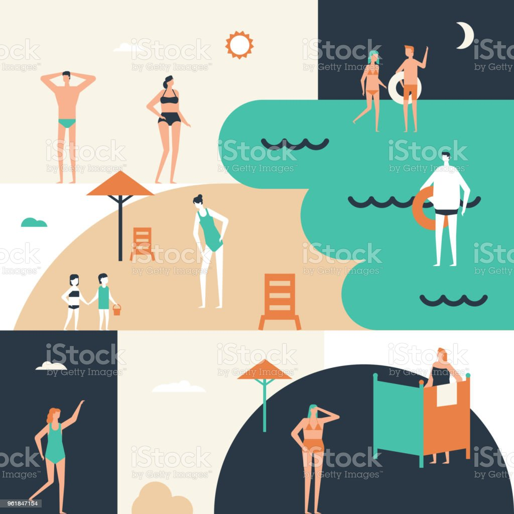 Beach holiday - flat design style conceptual illustration vector art illustration