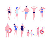 Beach holiday - flat design style set of isolated characters on white background. Cute cartoon men, women and children in swimsuits in different poses