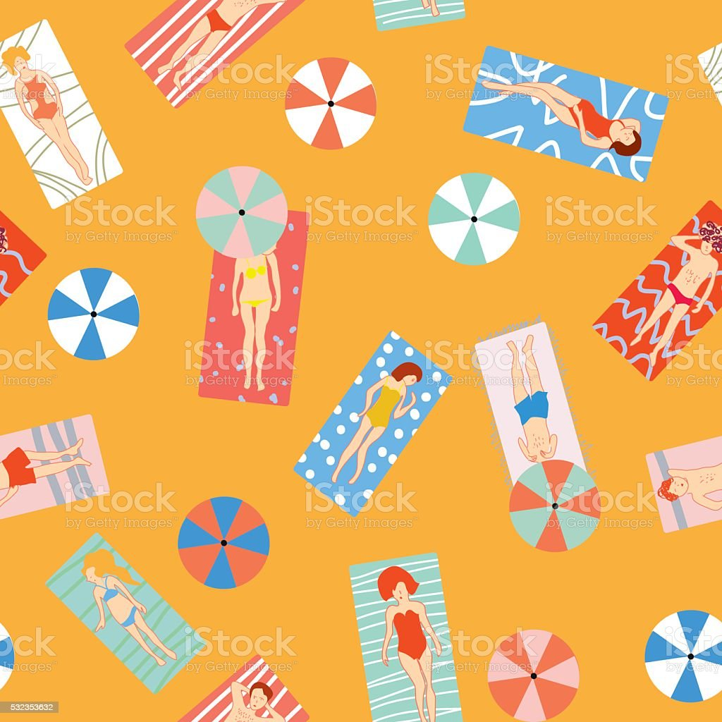 Beach holiday seamless pattern with people vector art illustration