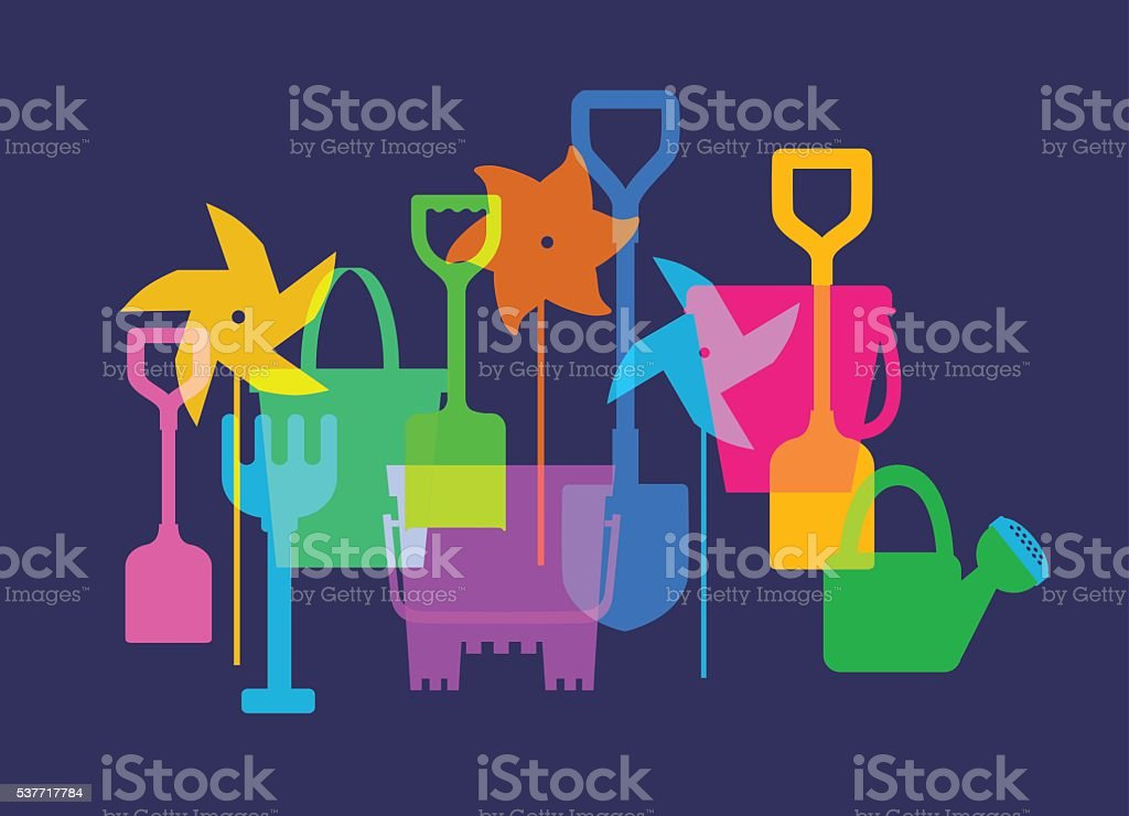 Beach Holiday Toys vector art illustration