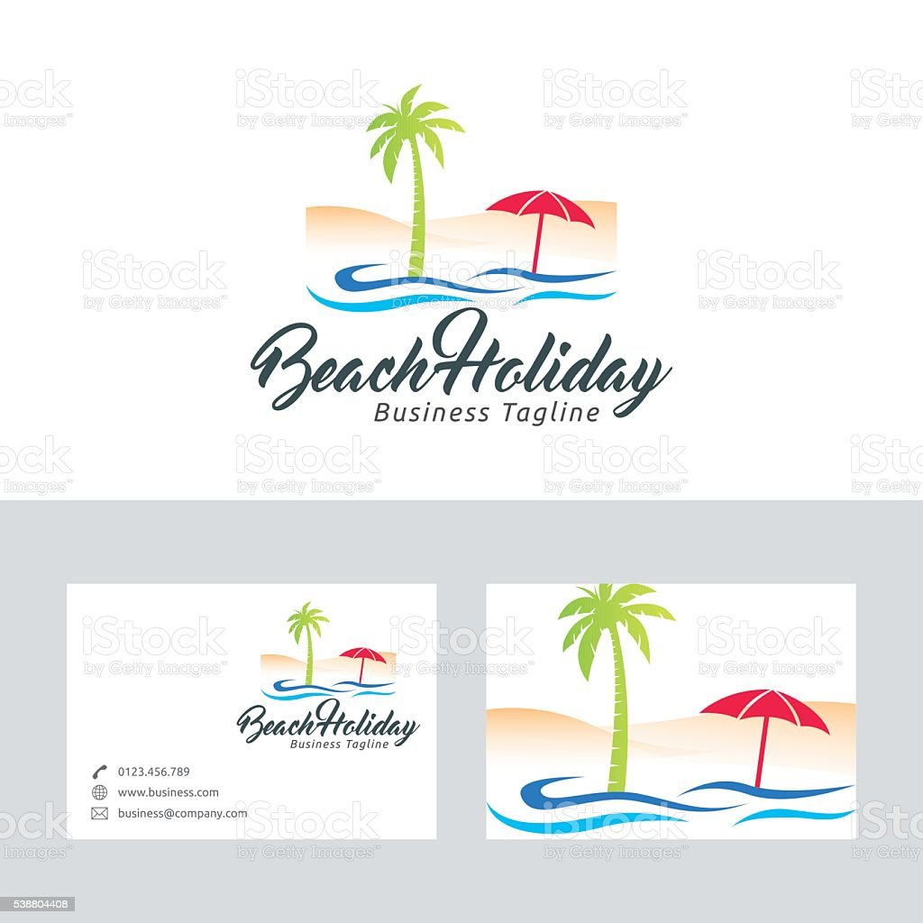 Beach holiday vector logo with business card template stock vector beach holiday vector logo with business card template royalty free beach holiday vector logo with colourmoves