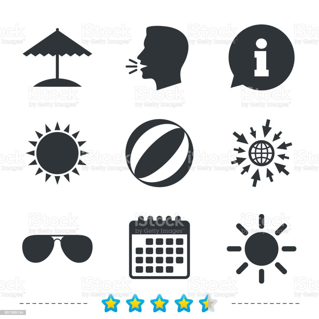 Beach holidays icons. Umbrella and Sunglasses. vector art illustration