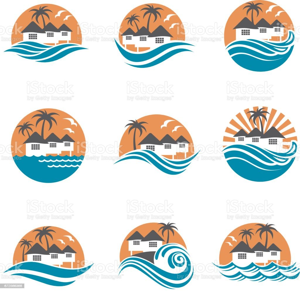 beach house icon set