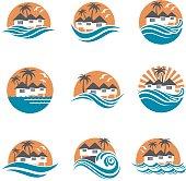 beach house icon set