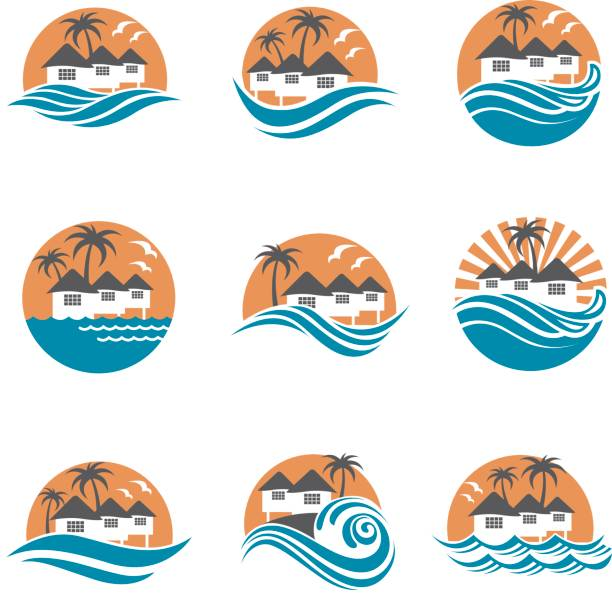 beach house icon set collection of seaside beach icon with houses and palms water bird stock illustrations