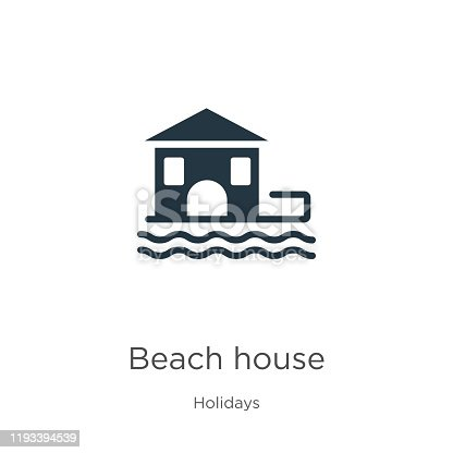 Beach house icon vector. Trendy flat beach house icon from holidays collection isolated on white background. Vector illustration can be used for web and mobile graphic design, logo, eps10