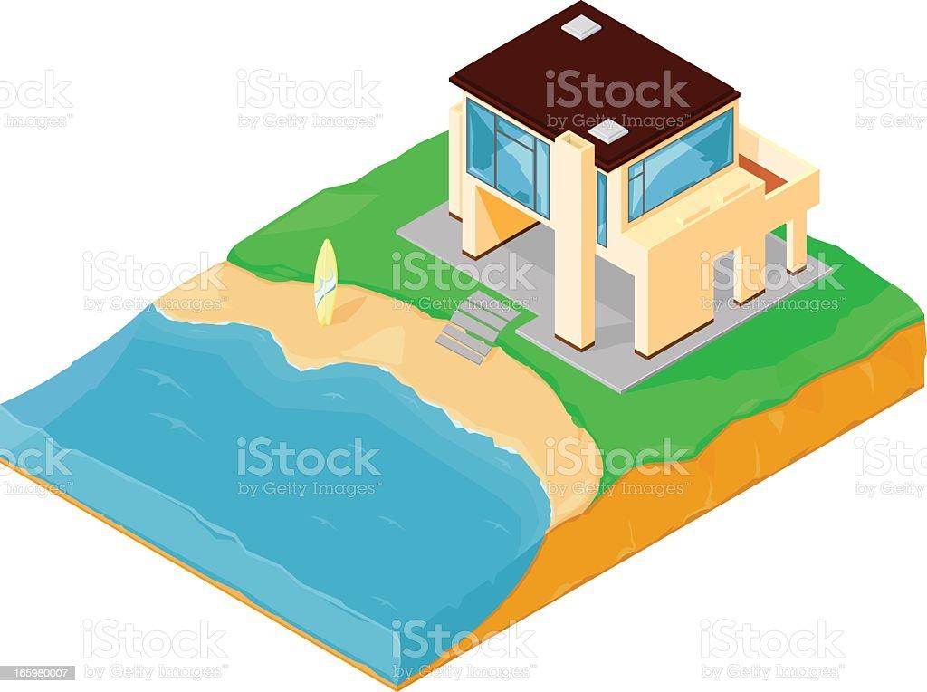 Beach House vector art illustration