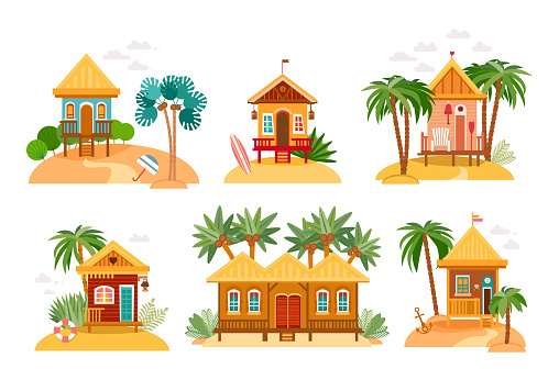 Beach houses collection of straw huts, bungalow