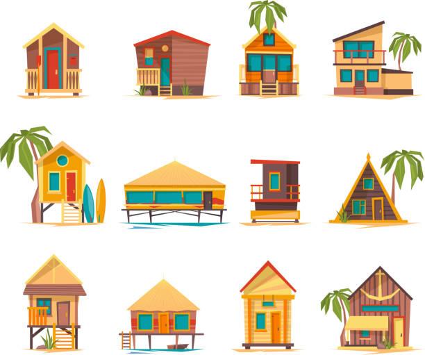 strandhäuser. lustige gebäude für densommerferien tropischen bungalow hütten und konstruktionen vektor - landhaus stock-grafiken, -clipart, -cartoons und -symbole
