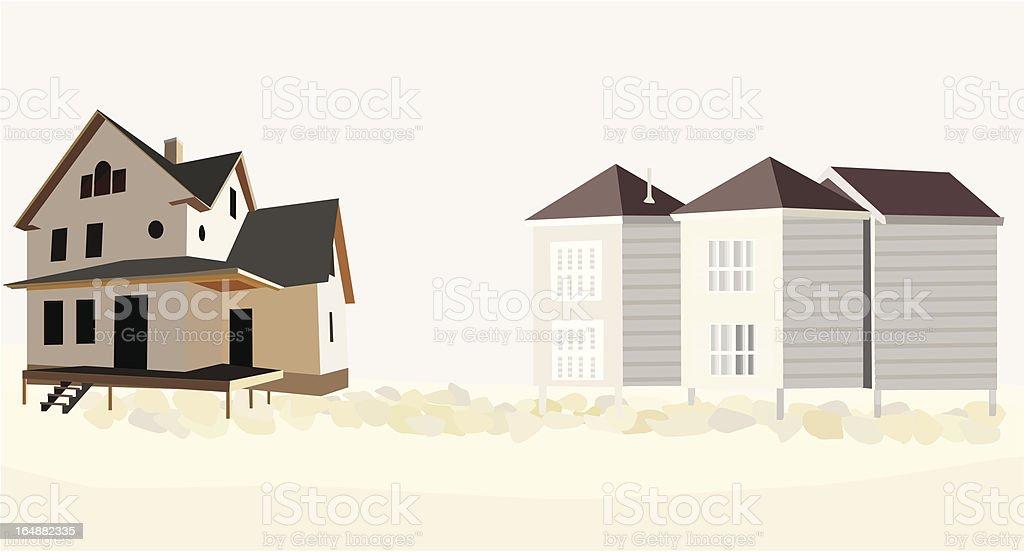 Beach houses royalty-free stock vector art
